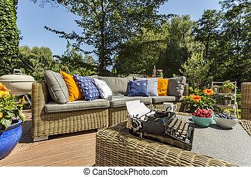 Patio for a big family idea - Spacious villa patio with...