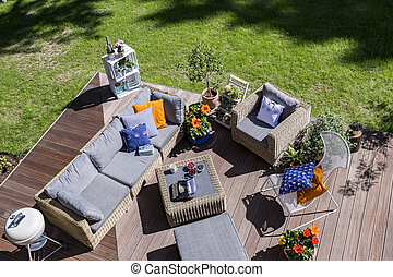 Summer relax on the patio - Top view of a villa patio with...
