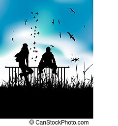 Boy and girl are sitting on fence
