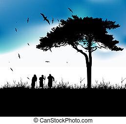três, antigas, pessoas, passeio, natureza, junto