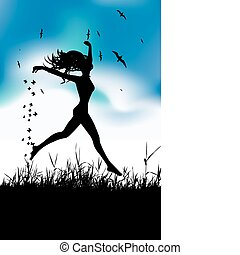 Young woman running on summer meadow