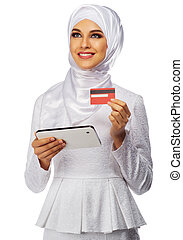 Muslim young girl isolated