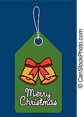bell bowtie label christmas design - bell bowtie label merry...