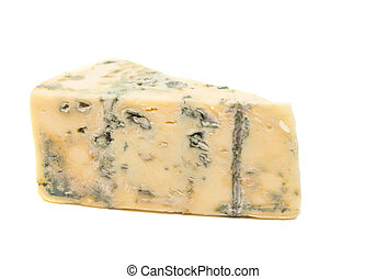 British blue cheese (Stilton) isolated on a white studio...