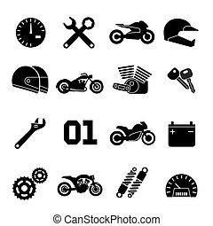 Motorbike, motorcycle race and spare parts vector icons -...
