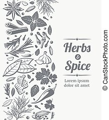 Herbs and spices decorative background - Herbs and spices...