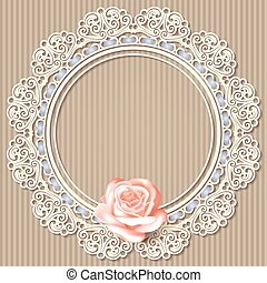 lace frame, realistic rose on beige striped background.