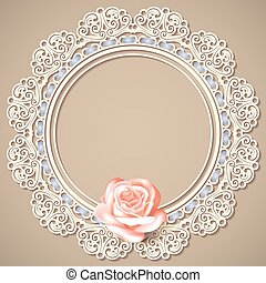 lace frame, realistic rose on beige background.