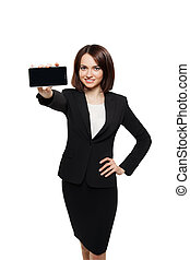 Business woman show mobile cell phone display - Business...