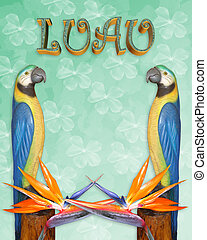 Luau invitation tropical background - Image and illustration...