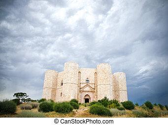 Castel, -, niebo, pochmurny, andria, Dramatyczny, Del,...