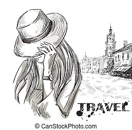 girl on an old town background - fashion illustration. girl...