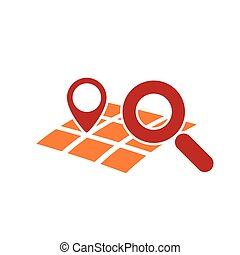 searching geo location - map gps geo mark with magnifying...