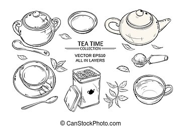 tea set - Vector set with cups, teapot, sugar bowl, tin...