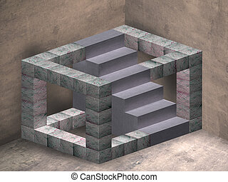 Impossible stairs - Illustration of an impossible geometric...