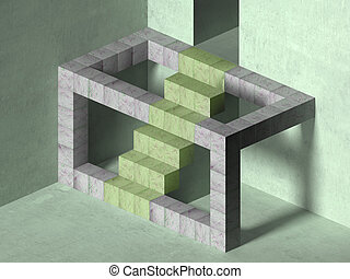 Magical stairs - Illustration of an impossible geometric...