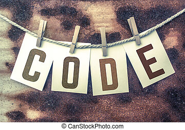Code Concept Pinned Stamped Cards on Twine Theme - The word...