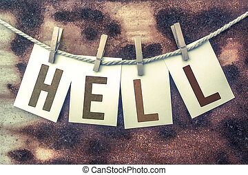 Hell Concept Pinned Stamped Cards on Twine Theme - The word...