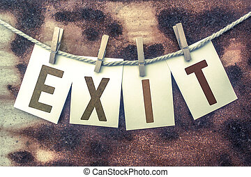 Exit Concept Pinned Stamped Cards on Twine Theme - The word...