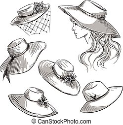 Set of hats. Girl in a hat. Fashion