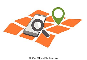 mobile geo location searching - mobile phone with magnifying...