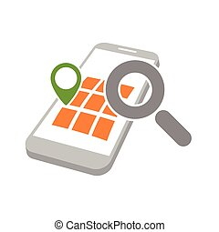 mobile geo location searching - mobile phone with geo map...