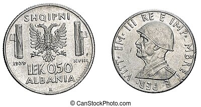 fifty 50 cents LEK Albania Colony acmonital Coin 1939...