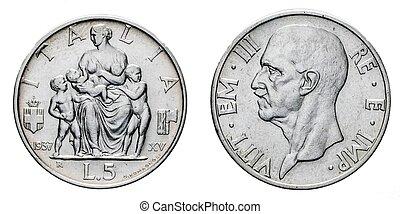 five 5 Lire Silver Coin 1937 Fecondita fertility Vittorio...