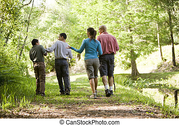 Hispanic family walking along trail in park - Rear view of...