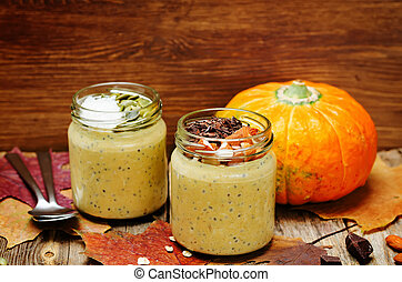 pumpkin chia seeds overnight oats. toning. selective focus