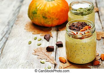 pumpkin chia seeds overnight oats toning selective focus