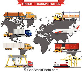 Vector set on worldwide shipping, heavy transport - Vector...