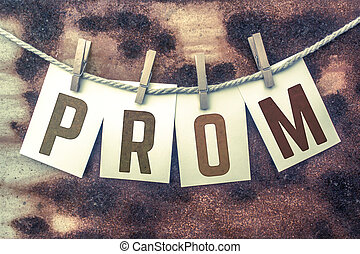 Prom Concept Pinned Stamped Cards on Twine Theme - The word...