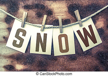 Snow Concept Pinned Stamped Cards on Twine Theme - The word...