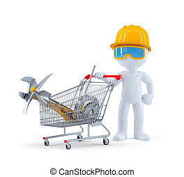 Worker/builder with cart full of construction tools