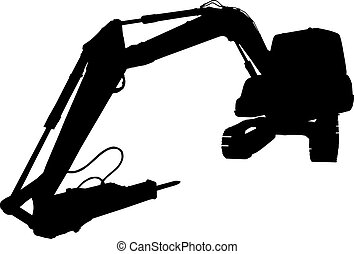 mechanical digger excavator silhouette