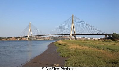 Suspension bridge - Suspension bridge over the Guadiana...