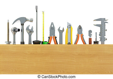 assortment of work tools, 3D rendering