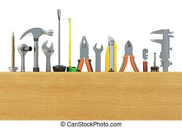 assortment of work tools, 3D rendering