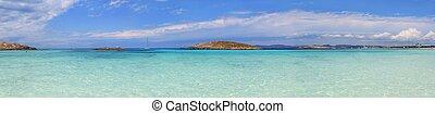 panoramique, Illetas, vue, turquoise, Formentera,...
