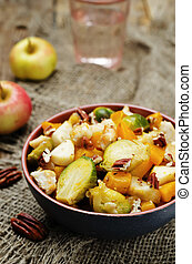 Brussels sprouts pumpkin apple chicken stew toning selective...