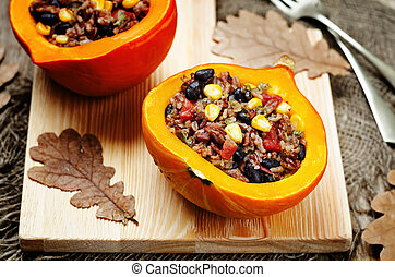 black beans corn white and red rice stuffed pumpkin. toning....