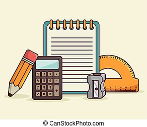 school supplies kit icon vector illustration graphic
