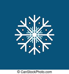 White blue black winter snowflake on blue background. End of...