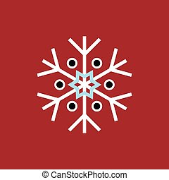 White blue black winter snowflake on red background. End of...