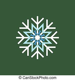 White blue winter snowflake on green background. End of year...