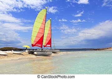 Hobie cat catamaran formentera beach Illetas blue sky...