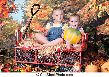 Sisters Enjoying a Beutiful Fall Day - Adorable preschool...