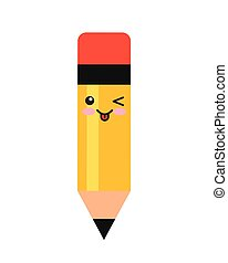 pencil kewaii character isolated icon