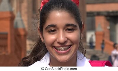 Pretty Smiling Teen Girl With Braces